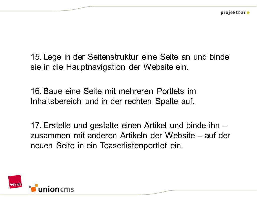 15. Lege in der Seitenstruktur eine Seite an und binde sie in die Hauptnavigation der Website ein.