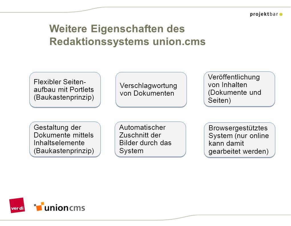 Weitere Eigenschaften des Redaktionssystems union.cms