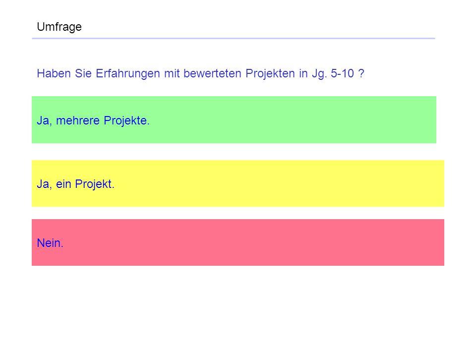 Umfrage Haben Sie Erfahrungen mit bewerteten Projekten in Jg. 5-10 Ja, mehrere Projekte. Ja, ein Projekt.