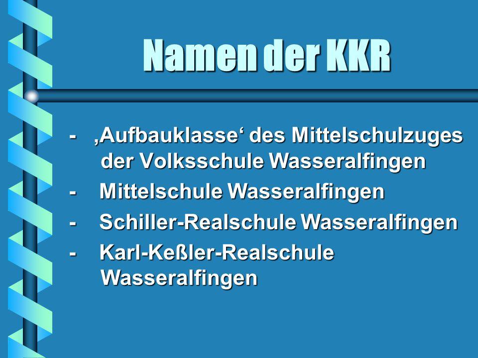 Namen der KKR - 'Aufbauklasse' des Mittelschulzuges der Volksschule Wasseralfingen. - Mittelschule Wasseralfingen.
