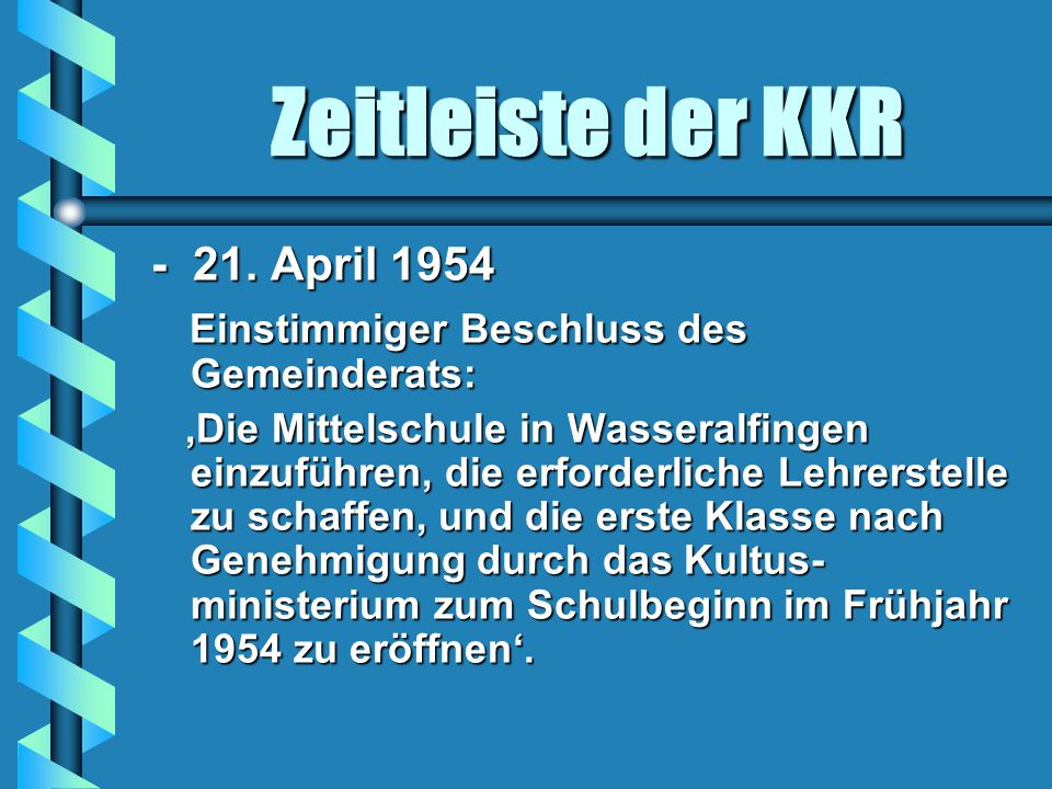 Zeitleiste der KKR - 21. April 1954