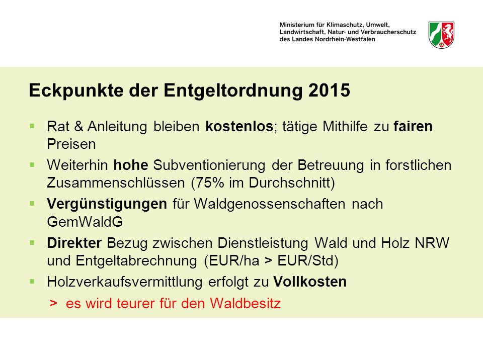 Eckpunkte der Entgeltordnung 2015