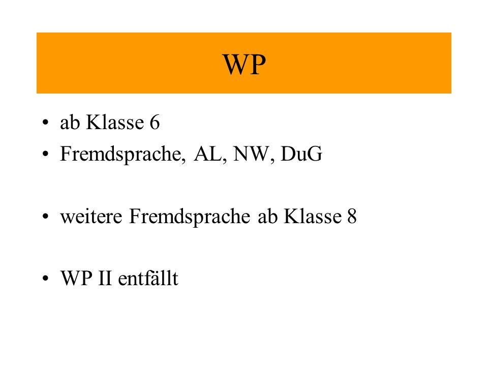 WP ab Klasse 6 Fremdsprache, AL, NW, DuG