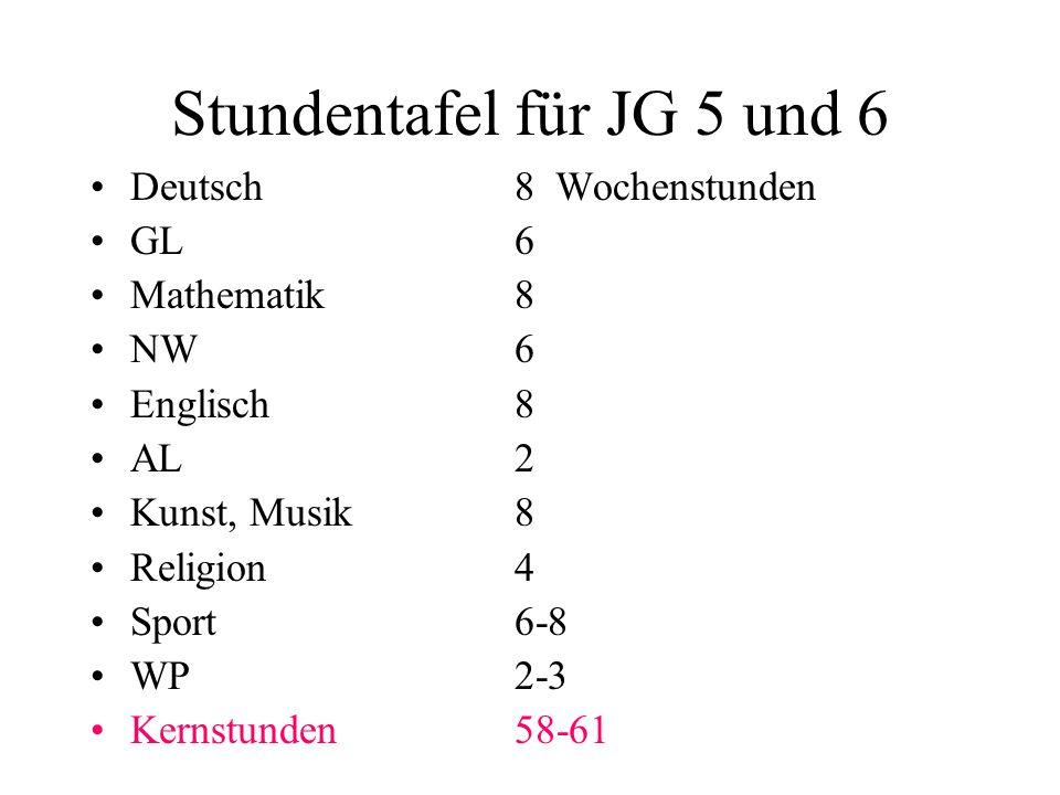 Stundentafel für JG 5 und 6
