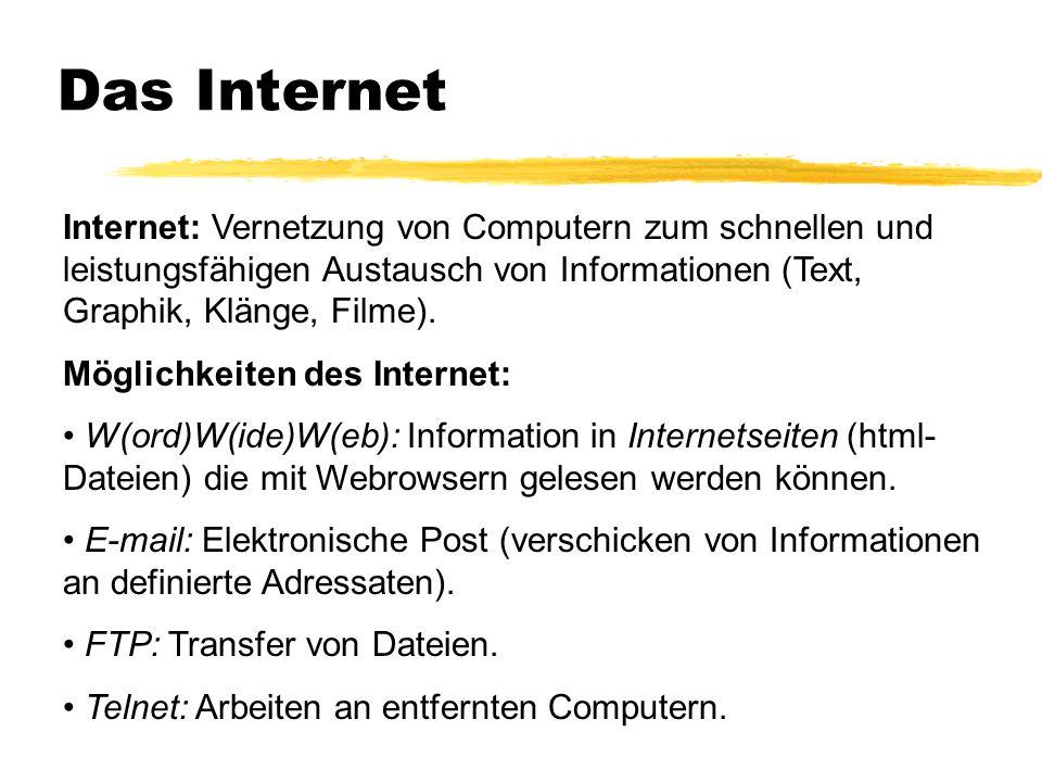 Das Internet Internet: Vernetzung von Computern zum schnellen und leistungsfähigen Austausch von Informationen (Text, Graphik, Klänge, Filme).