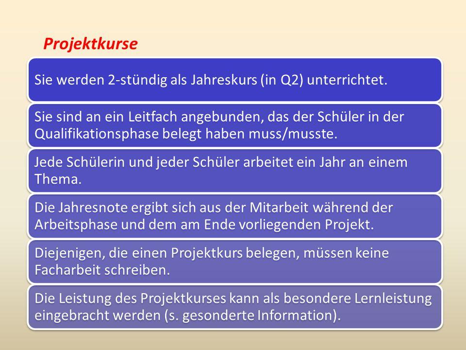Projektkurse Sie werden 2-stündig als Jahreskurs (in Q2) unterrichtet.