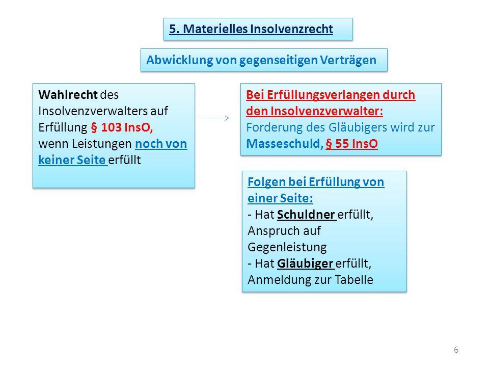 5. Materielles Insolvenzrecht