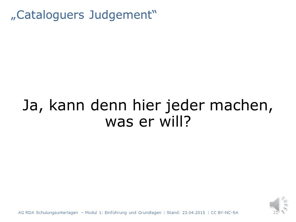 """Cataloguers Judgement"
