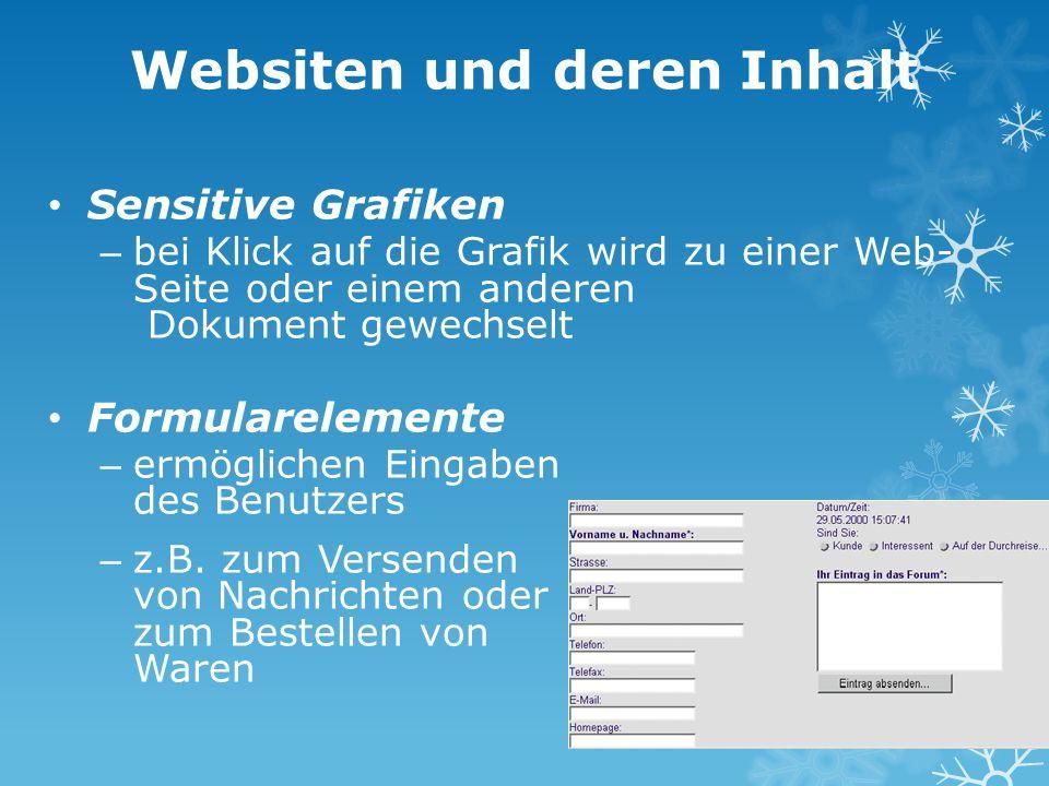 Websiten und deren Inhalt