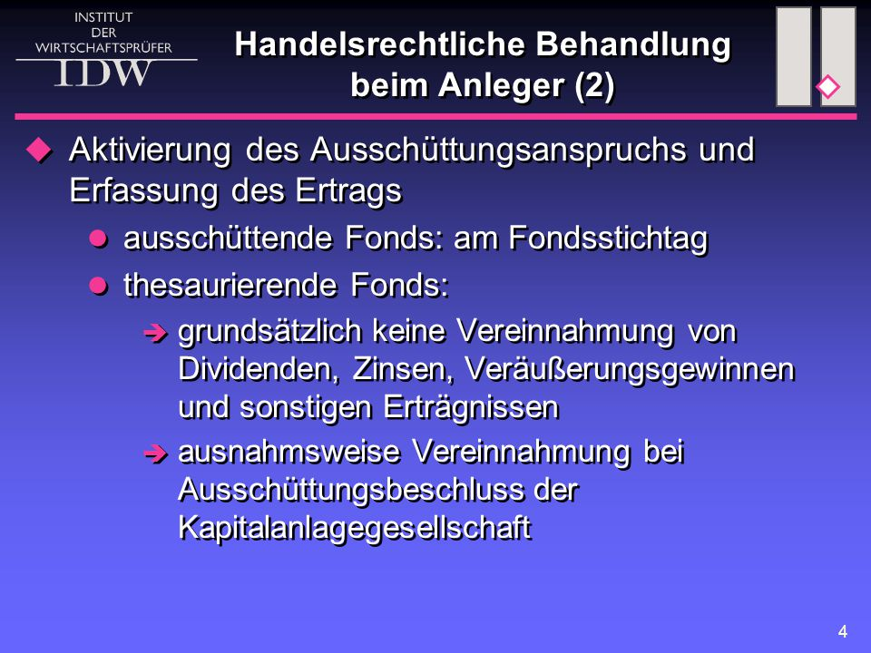 Handelsrechtliche Behandlung beim Anleger (2)