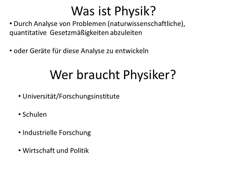 Was ist Physik Wer braucht Physiker