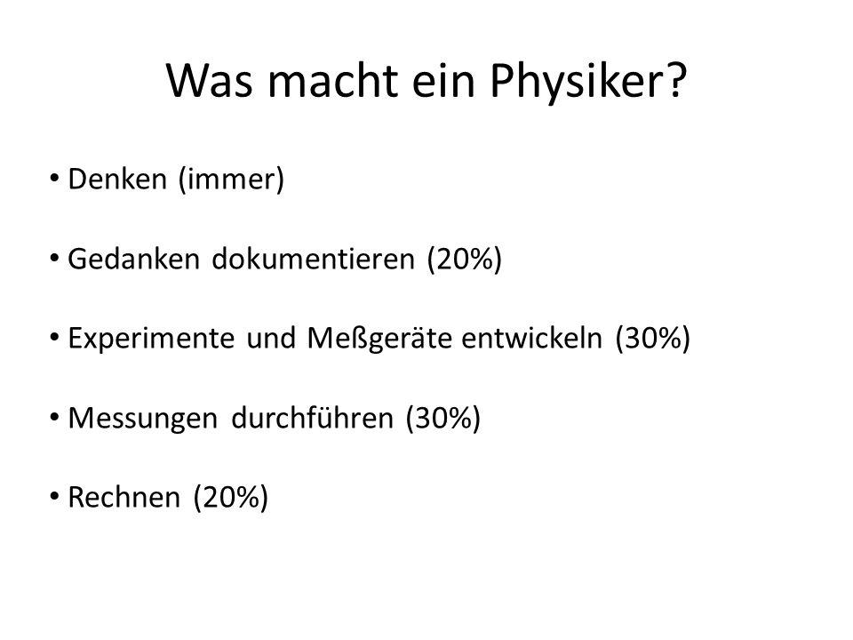 Was macht ein Physiker Denken (immer) Gedanken dokumentieren (20%)