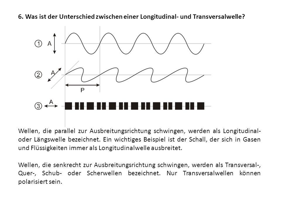 6. Was ist der Unterschied zwischen einer Longitudinal- und Transversalwelle