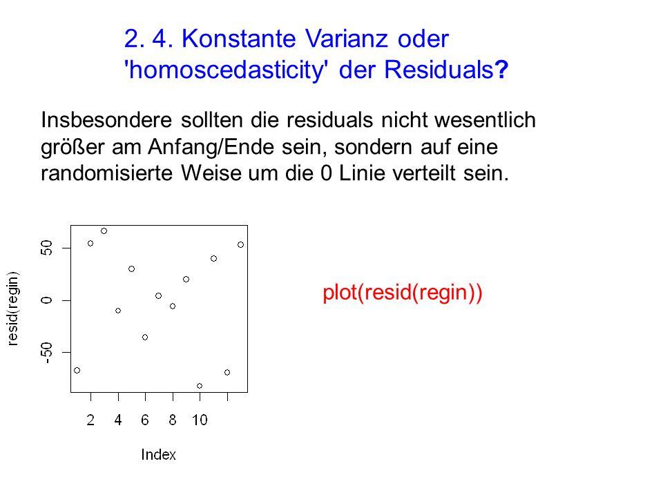 2. 4. Konstante Varianz oder homoscedasticity der Residuals