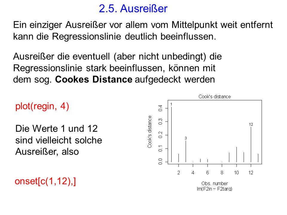 2.5. Ausreißer Ein einziger Ausreißer vor allem vom Mittelpunkt weit entfernt kann die Regressionslinie deutlich beeinflussen.