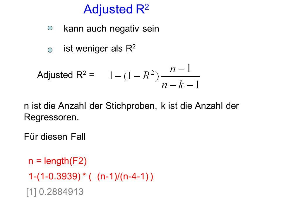 Adjusted R2 kann auch negativ sein ist weniger als R2 Adjusted R2 =