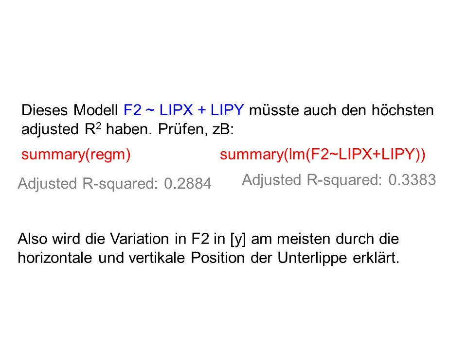 Dieses Modell F2 ~ LIPX + LIPY müsste auch den höchsten adjusted R2 haben. Prüfen, zB: