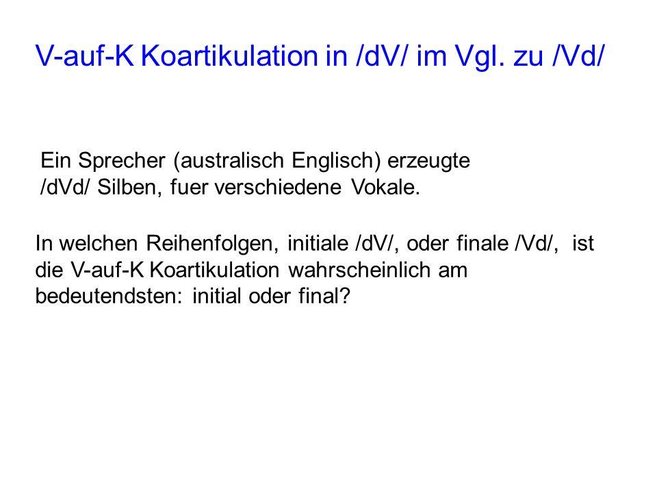 V-auf-K Koartikulation in /dV/ im Vgl. zu /Vd/