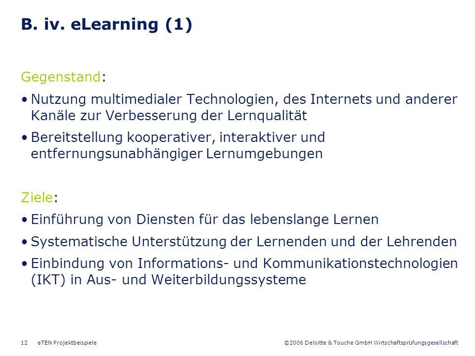 B. iv. eLearning (1) Gegenstand: