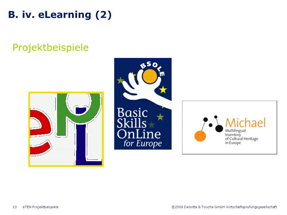 B. iv. eLearning (2) Projektbeispiele eTEN Projektbeispiele