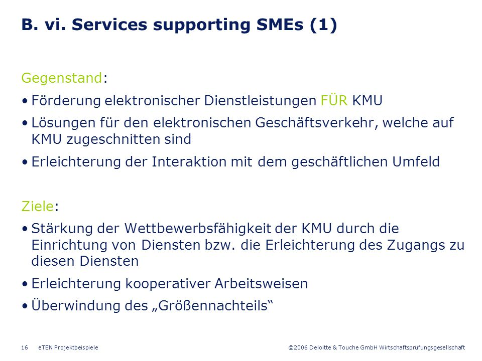 B. vi. Services supporting SMEs (1)
