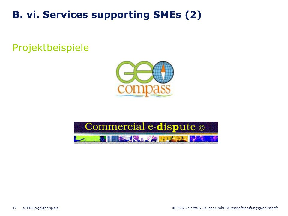 B. vi. Services supporting SMEs (2)