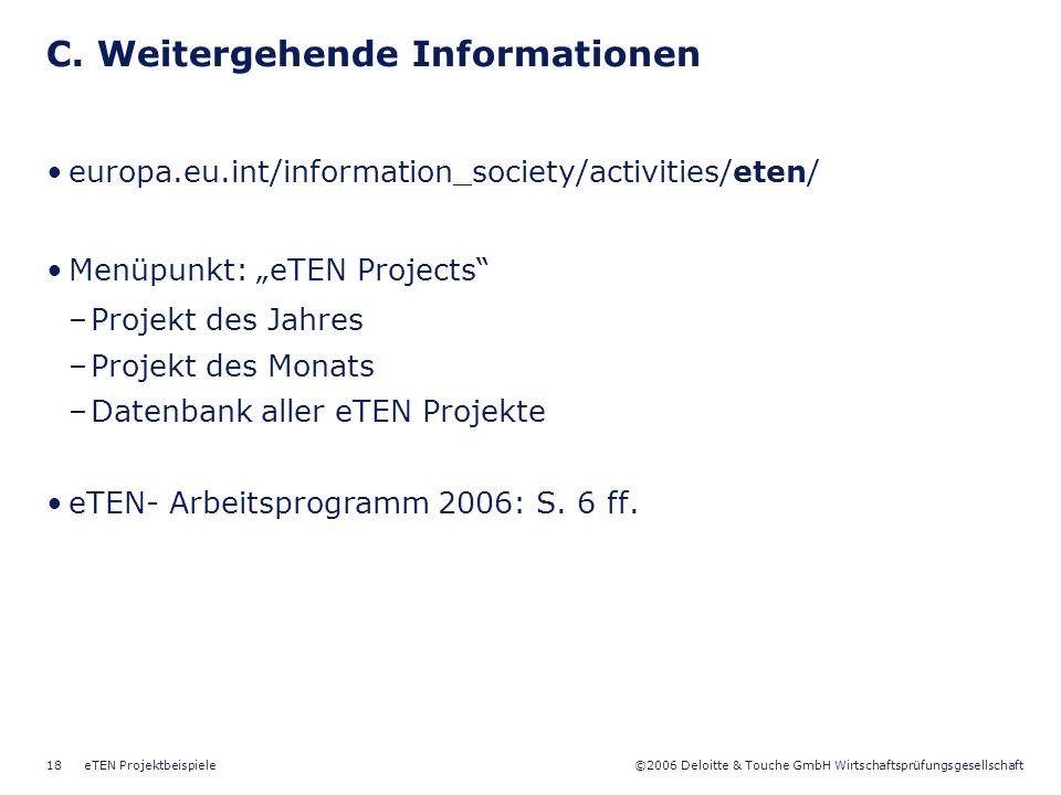 C. Weitergehende Informationen