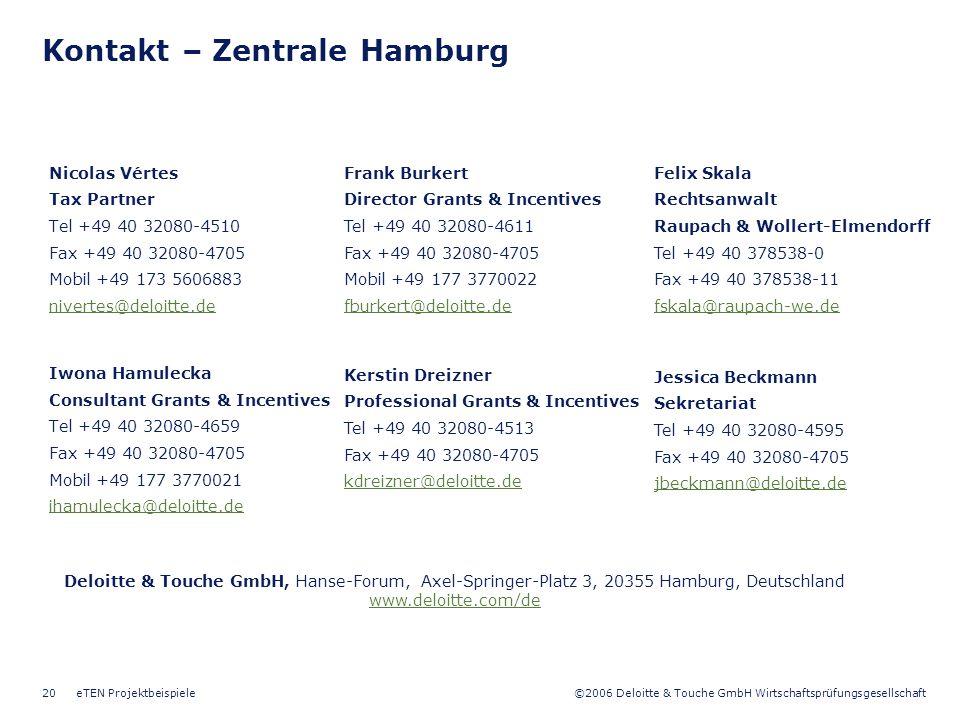 Kontakt – Zentrale Hamburg