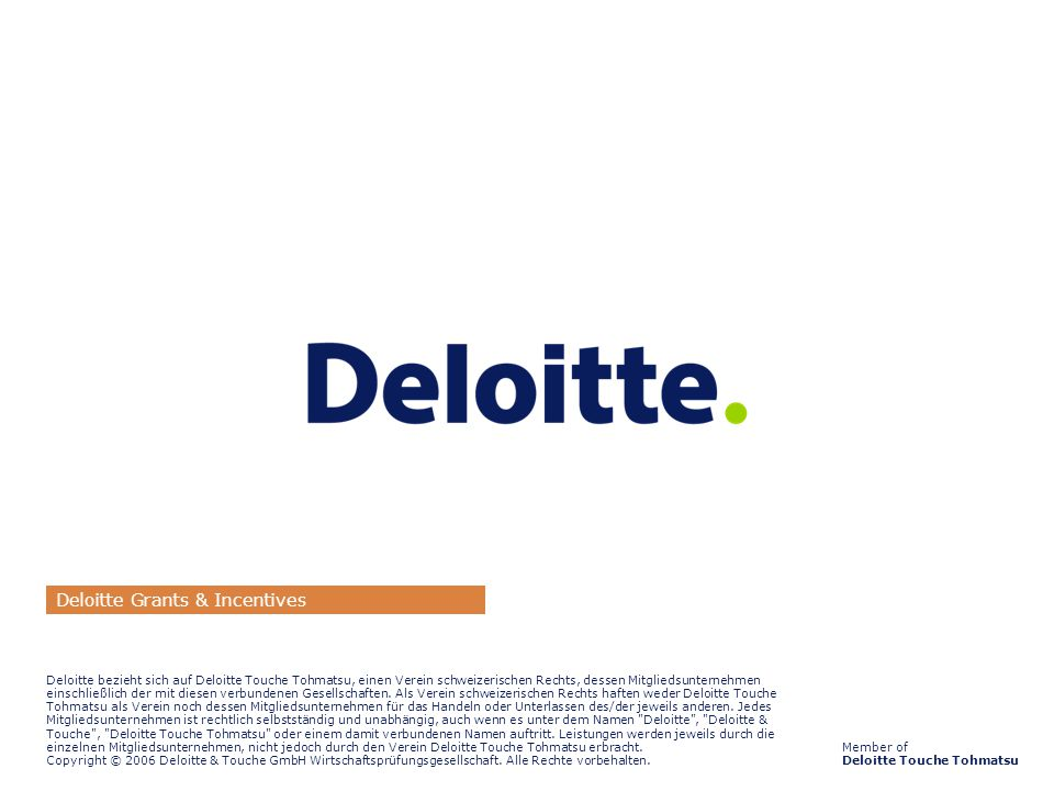 Deloitte Grants & Incentives