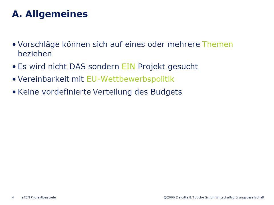 A. Allgemeines Vorschläge können sich auf eines oder mehrere Themen beziehen. Es wird nicht DAS sondern EIN Projekt gesucht.