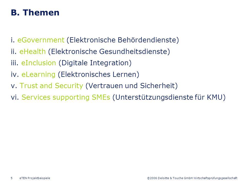 B. Themen i. eGovernment (Elektronische Behördendienste)