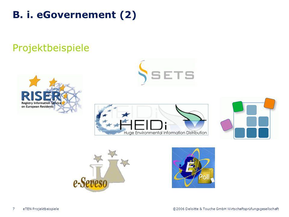 B. i. eGovernement (2) Projektbeispiele eTEN Projektbeispiele