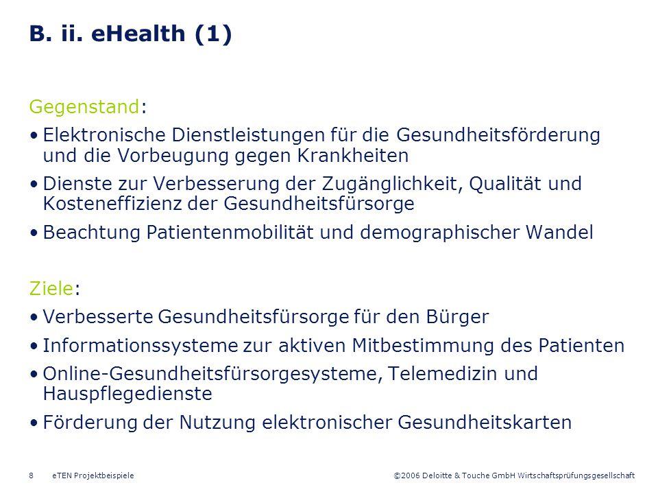 B. ii. eHealth (1) Gegenstand: