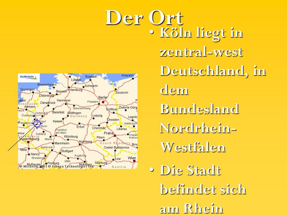 Der Ort Köln liegt in zentral-west Deutschland, in dem Bundesland Nordrhein-Westfalen. Die Stadt befindet sich am Rhein.
