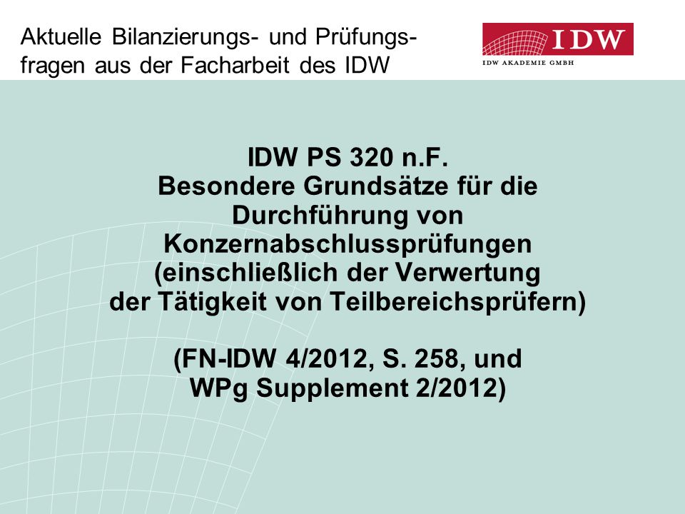(FN-IDW 4/2012, S. 258, und WPg Supplement 2/2012)