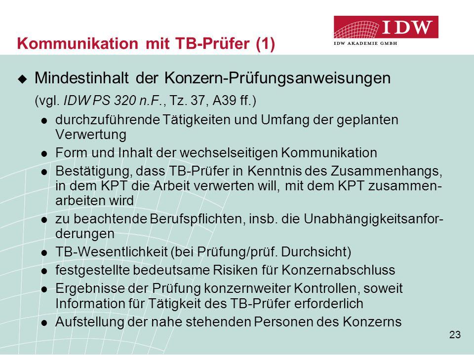 Kommunikation mit TB-Prüfer (1)