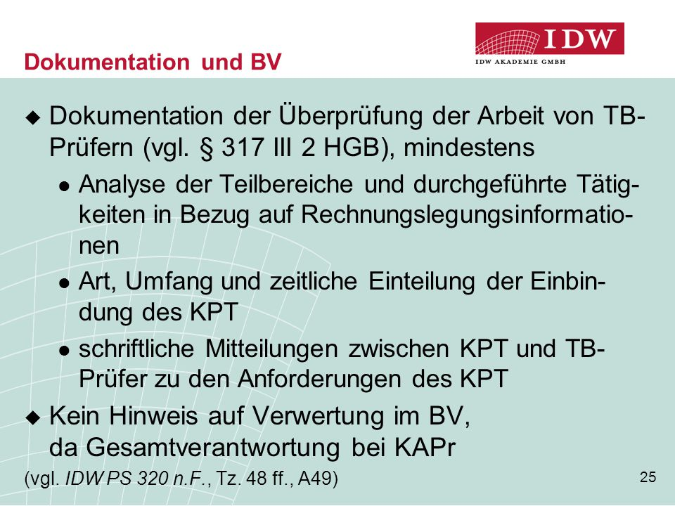Kein Hinweis auf Verwertung im BV, da Gesamtverantwortung bei KAPr