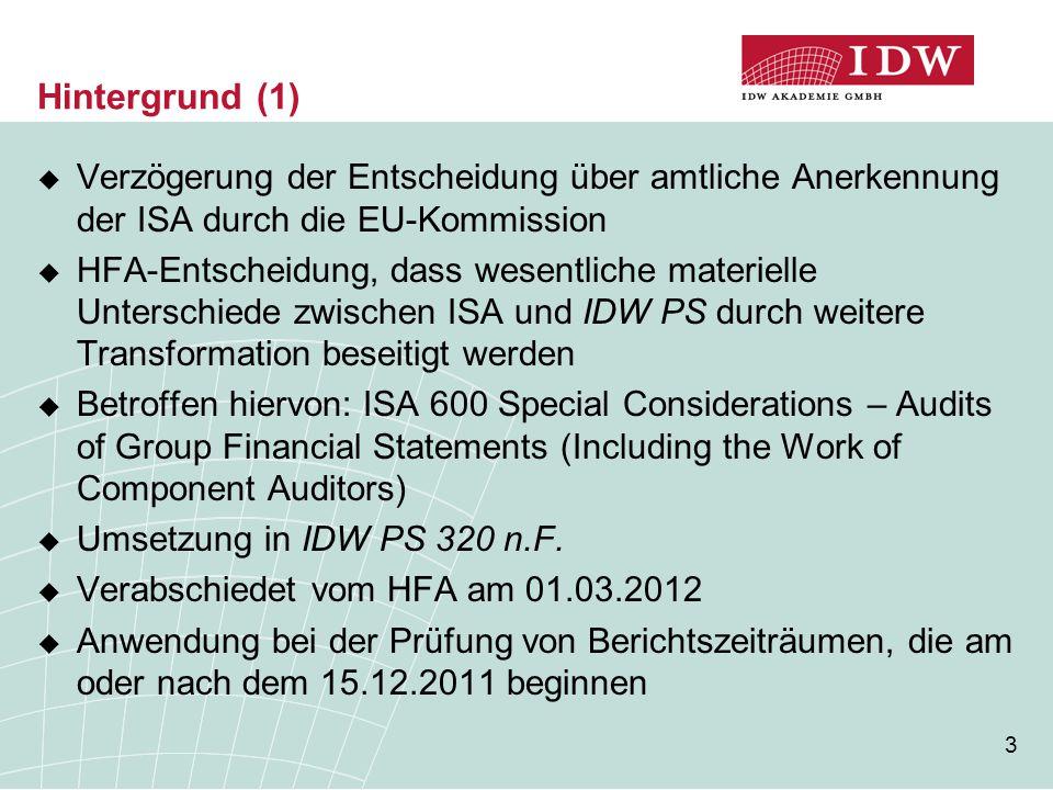 Hintergrund (1) Verzögerung der Entscheidung über amtliche Anerkennung der ISA durch die EU-Kommission.