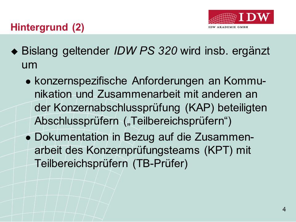 Bislang geltender IDW PS 320 wird insb. ergänzt um