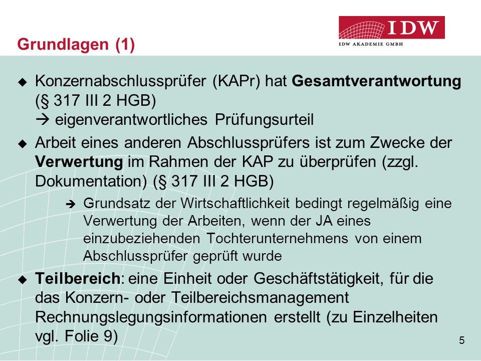 Grundlagen (1) Konzernabschlussprüfer (KAPr) hat Gesamtverantwortung (§ 317 III 2 HGB)  eigenverantwortliches Prüfungsurteil.