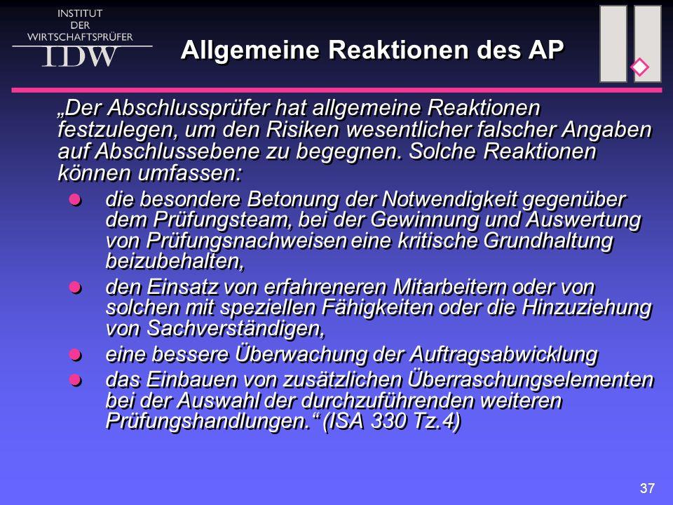 Allgemeine Reaktionen des AP
