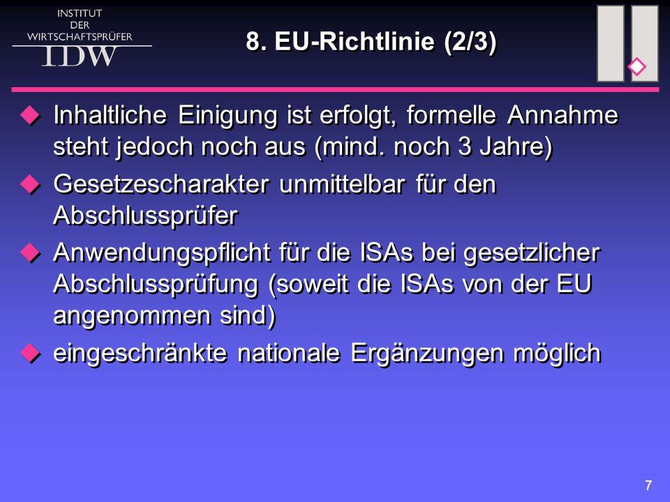 8. EU-Richtlinie (2/3) Inhaltliche Einigung ist erfolgt, formelle Annahme steht jedoch noch aus (mind. noch 3 Jahre)