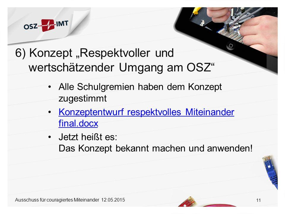 "6) Konzept ""Respektvoller und wertschätzender Umgang am OSZ"