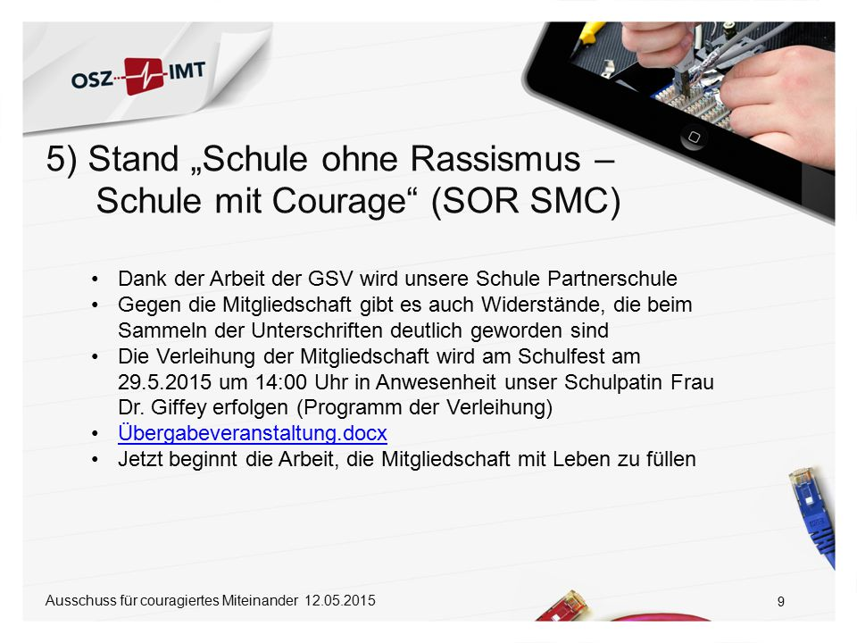 "5) Stand ""Schule ohne Rassismus – Schule mit Courage (SOR SMC)"