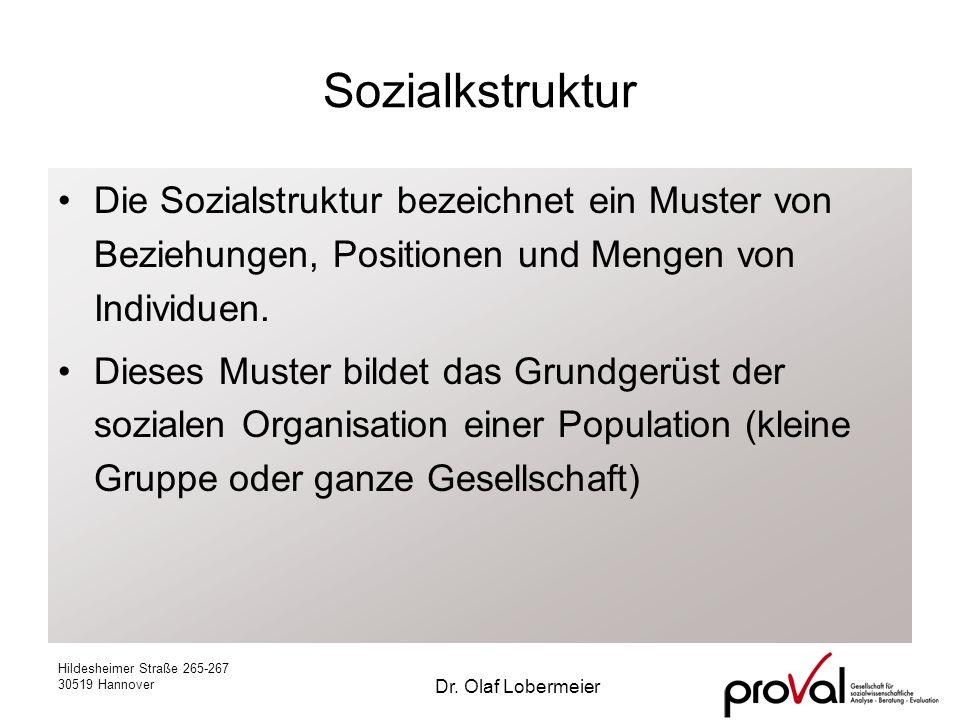 Sozialkstruktur Die Sozialstruktur bezeichnet ein Muster von Beziehungen, Positionen und Mengen von Individuen.