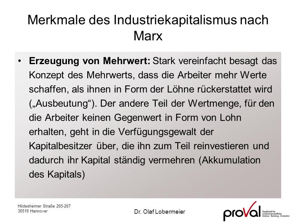 Merkmale des Industriekapitalismus nach Marx