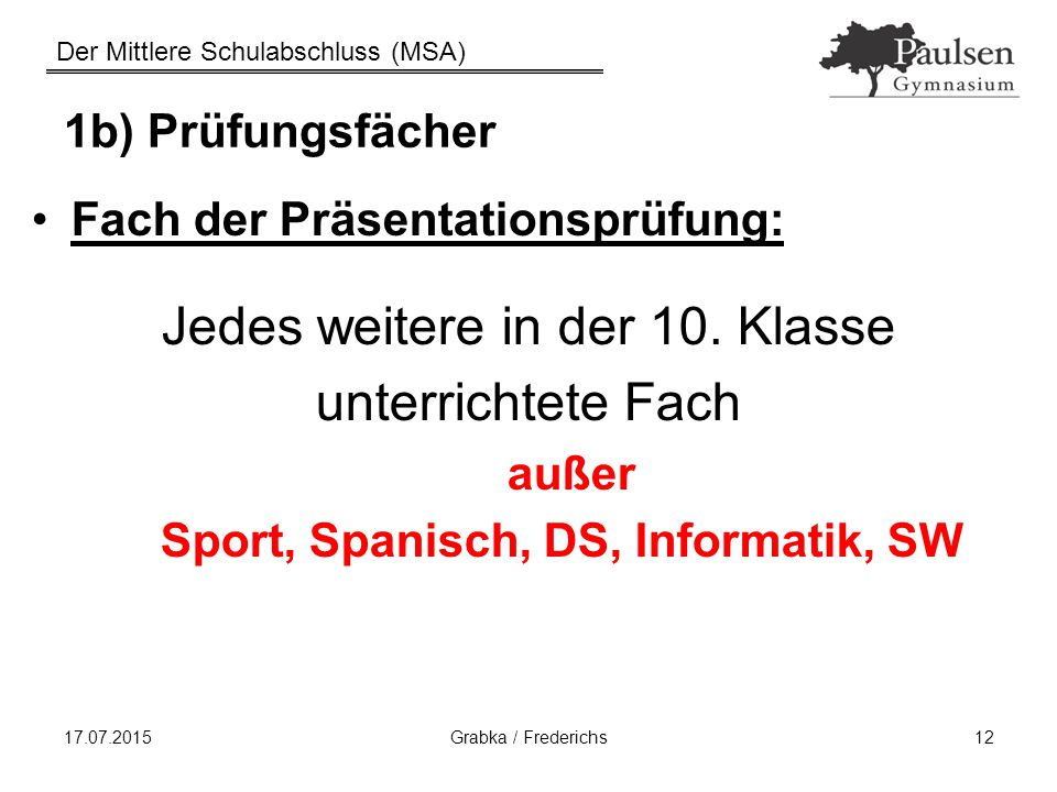 Sport, Spanisch, DS, Informatik, SW