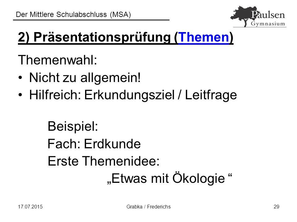 2) Präsentationsprüfung (Themen)