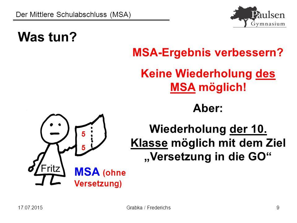 MSA-Ergebnis verbessern Keine Wiederholung des MSA möglich!