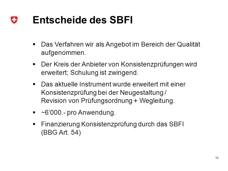 Entscheide des SBFI Das Verfahren wir als Angebot im Bereich der Qualität aufgenommen.